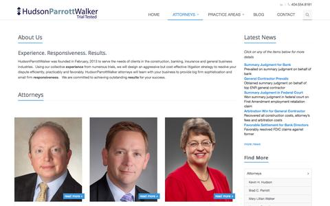 Screenshot of About Page hpwlegal.com - Banking Law | Commercial Litigation | Construction Law |  Employment Law | General Liability | Atlanta Law Firm | Hudson Parrott Walker | About Us - captured Nov. 2, 2014