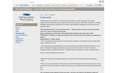 Screenshot of Testimonials Page infopkg.com - Testimonials - Information Packaging Corporation - captured Oct. 6, 2014