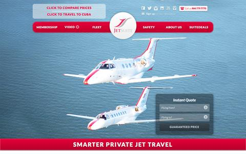 Screenshot of Home Page jetsuite.com - JetSuite | Private Jet Charter Flights – Private Jet Rental Service - captured March 19, 2016