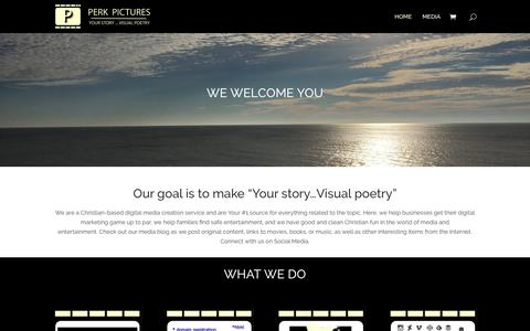 Screenshot of Home Page perkpictures.com - Perk Pictures | Your Story...Visual Poetry - captured Sept. 27, 2018