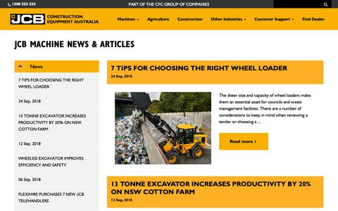 Screenshot of Press Page jcbcea.com.au - JCB Construction Equipment Australia - News & Articles - captured Oct. 1, 2018