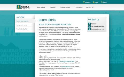 Umpqua Bank scam alerts