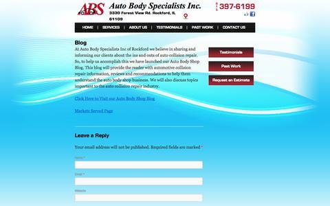 Screenshot of Blog autobodyspecialistsinc.net - Auto Body Shop Blog | auto collision repair information | ABS - captured Oct. 4, 2014