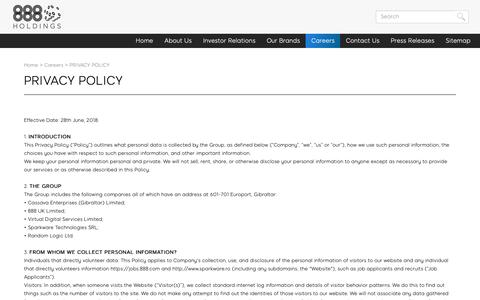 Screenshot of Privacy Page 888.com - PRIVACY POLICY   corporate.888.com - captured Oct. 19, 2018