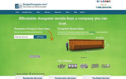 Screenshot of Home Page budgetdumpster.com - Dumpster Rentals for Less | Budget Dumpster - captured Dec. 9, 2017
