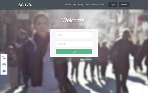 Screenshot of Login Page scrive.com - Scrive - captured Sept. 23, 2014