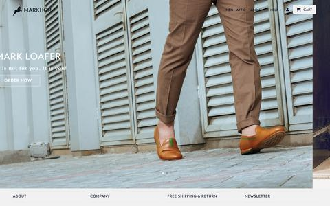 Screenshot of Home Page themarkhor.com - Markhor: High Quality. Handcrafted Shoes - captured Feb. 12, 2016