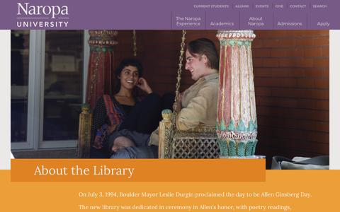 Screenshot of About Page naropa.edu - About the Library | Naropa University - captured Sept. 27, 2018