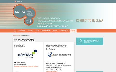 Screenshot of Press Page world-nuclear-exhibition.com - Press contacts - World Nuclear Exhibition - captured Jan. 7, 2017