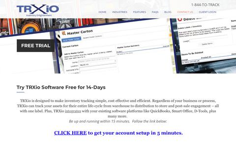 Screenshot of Trial Page trxio.com - Inventory Management Software Free Trial | TRXio - captured July 8, 2018
