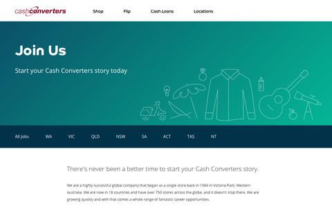 Screenshot of Jobs Page cashconverters.com.au - Join Us   Cash Converters - captured Sept. 21, 2018