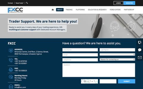 Screenshot of Contact Page fxcc.com - Contact FXCC | Main Office and International Call Centres - captured Aug. 12, 2018
