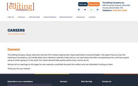 Screenshot of Jobs Page theeditingco.com - Careers - captured May 29, 2019