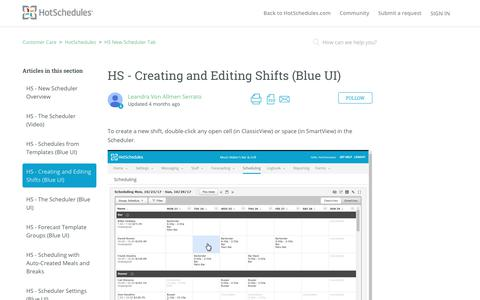 Screenshot of Support Page hotschedules.com - HS - Creating and Editing Shifts (Blue UI)  – Customer Care - captured March 8, 2018