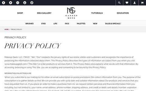 Screenshot of Privacy Page makeupgeek.com - Privacy Policy  - Makeup Geek - captured Jan. 21, 2018