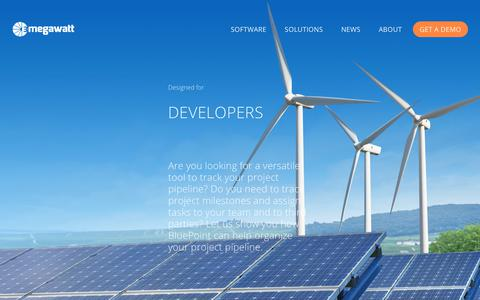 Screenshot of Developers Page 3megawatt.com - Developers — Wind and Solar Asset Management Software - captured Sept. 21, 2018