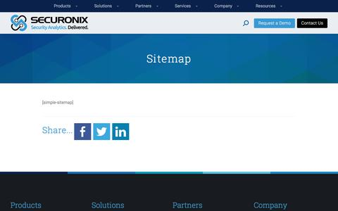 Screenshot of Site Map Page securonix.com - Sitemap - Securonix - captured Aug. 27, 2017