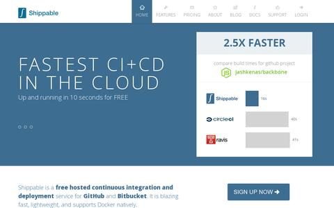 Screenshot of Home Page shippable.com - Shippable: Hosted continuous integration and deployment platform - captured July 11, 2014