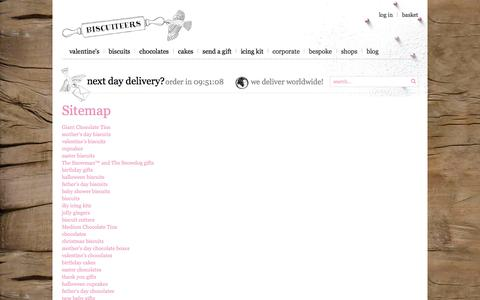 Screenshot of Site Map Page biscuiteers.com - welcome to Biscuiteers - delicious hand iced biccies to order online - say it with icing - captured Jan. 20, 2016
