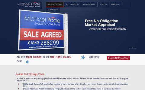 Screenshot of Pricing Page michaelpoole.co.uk - Lettings Fees - Michael Poole Estate Agents - Experts in House sales, Auctions and lettings - captured Aug. 11, 2016