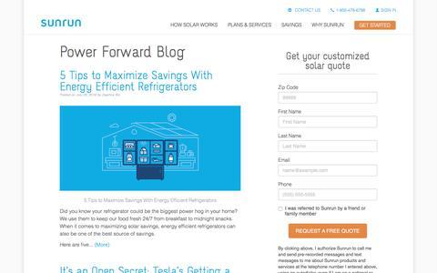 Screenshot of Blog sunrun.com - Blog Home | Sunrun - captured July 22, 2016