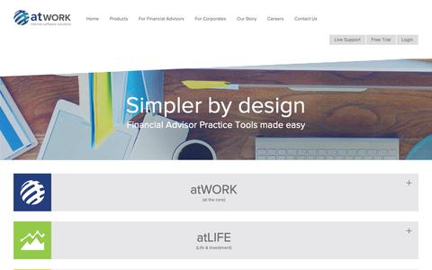Screenshot of Products Page atwork.co.za - Financial Practice CRM Products & Solutions | atWORK - captured Oct. 21, 2018