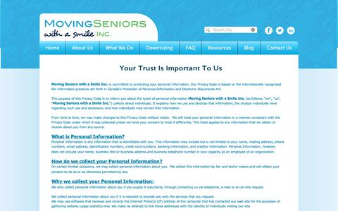 Screenshot of Privacy Page movingseniorswithasmile.ca - Moving Seniors with a Smile | Senior Move Management | GTA | Privacy Policy - captured Oct. 20, 2018