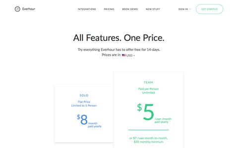 Screenshot of Pricing Page everhour.com - Time Tracking and Reporting Software Pricing — Everhour - captured July 22, 2018