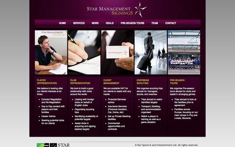 Screenshot of Services Page star-signings.com - Star Management Signings - captured Oct. 6, 2014