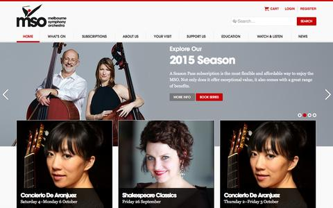 Screenshot of Home Page mso.com.au - Home - Melbourne Symphony Orchestra - captured Sept. 22, 2014