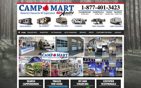 Screenshot of Home Page 401auto.ca - 401 AUTO | 401 RV Carries Heartland, Starcraft, and Camp-Mart brands | Used RV dealership serving three locations near Totonto, Ontario, N3H 0A1 - captured Feb. 16, 2016