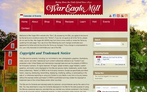 Screenshot of Terms Page wareaglemill.com - Terms of Use - War Eagle Mill - captured Oct. 7, 2014