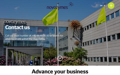 Screenshot of Contact Page novozymes.com - Contact us | Find your regional contact | Novozymes - captured July 15, 2018