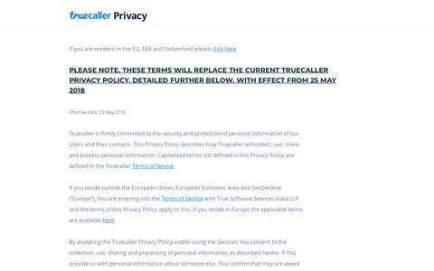 Privacy Policy - Truecaller