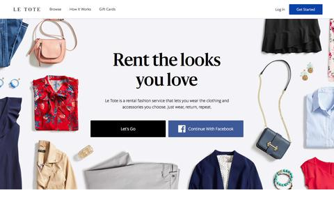 Screenshot of Home Page letote.com - Le Tote - Personalized Clothing Subscription & Rented Fashion - captured Sept. 20, 2018