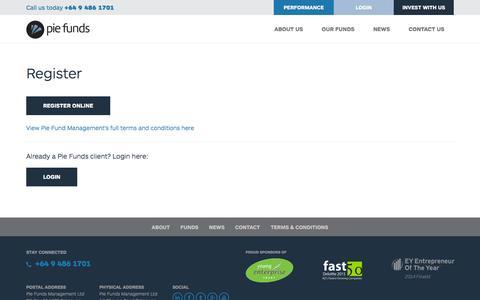 Screenshot of Login Page piefunds.co.nz - Register | Pie Funds Management - captured Jan. 28, 2016