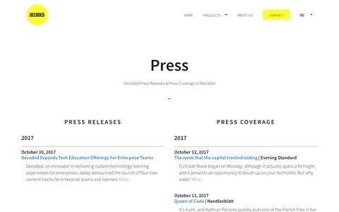 Screenshot of Press Page decoded.com - Press | New York | Decoded - captured Dec. 3, 2017
