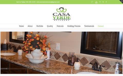 Screenshot of Contact Page casaverdenm.com - Contact | Casa Verde Builders - captured Oct. 26, 2016