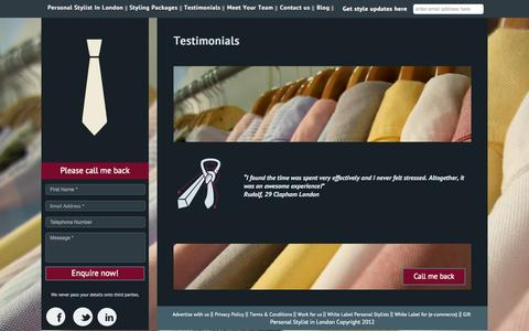 Screenshot of Testimonials Page personalstylistinlondon.co.uk - Testimonials - captured Sept. 29, 2014
