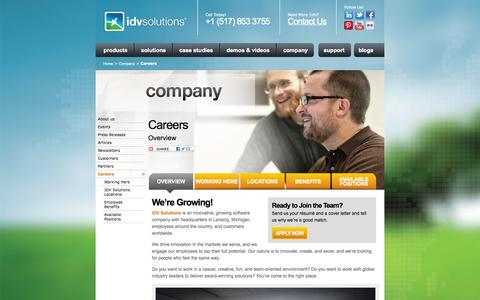 Screenshot of Jobs Page idvsolutions.com - Careers – Overview | IDV Solutions - captured Sept. 30, 2014