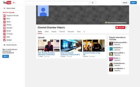 Screenshot of YouTube Page youtube.com - Clonmel Chamber Video's  - YouTube - captured Oct. 22, 2014