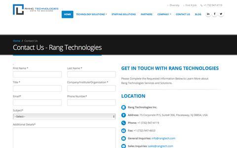 Screenshot of Contact Page rangtech.com - Contact Us | Rang Technologies - captured Nov. 12, 2017