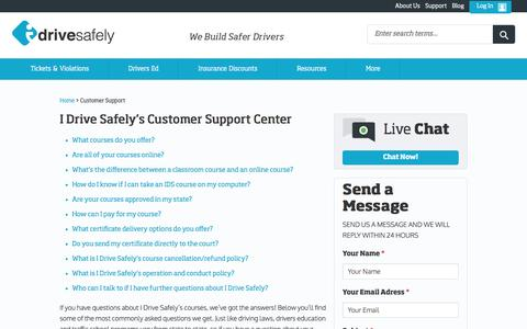 Screenshot of Support Page idrivesafely.com - I Drive Safely - 24/7 Customer Support - captured July 20, 2016