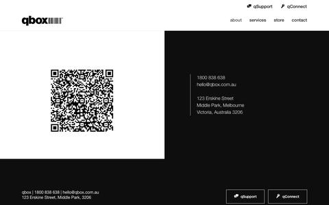 Screenshot of Contact Page qbox.com.au - qbox - Contact Us - captured Oct. 1, 2018