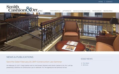 Screenshot of Press Page smithcashion.com - News and Publications - Smith Cashion & Orr, PLC - captured Nov. 14, 2017