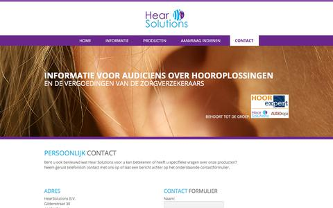 Screenshot of Contact Page hearsolutions.nl - Contact - Hearsolutions - captured July 31, 2017