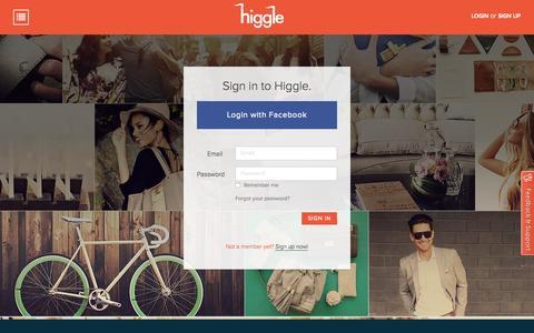 Screenshot of Login Page higgle.com - Higgle - Login - captured Oct. 25, 2015