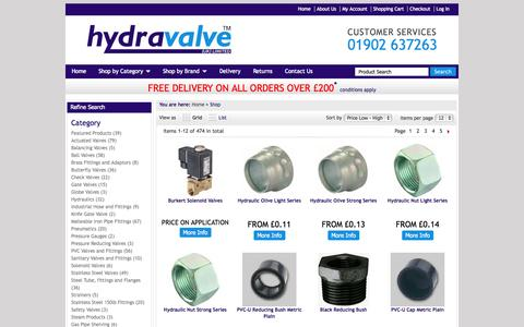 Screenshot of Products Page hydravalve.co.uk - Buy Valves Online From Hydravalve - captured Sept. 23, 2014