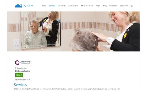 Screenshot of Services Page q1care.co.uk - Palliative Care Reading   Domiciliary Care Berkshire   Q1Care - captured May 11, 2017