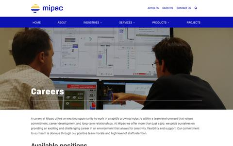 Screenshot of Jobs Page mipac.com.au - Careers - Mipac | Process control and performance data solutions - captured Dec. 8, 2018